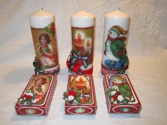 Tre stk nya Julljus och Tändsticksaskar ! 001