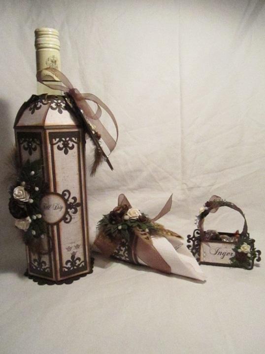 Vinflaske dekration bordsplaseringskort och servetthållare 002